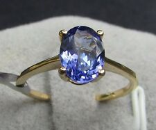 1.76 cts AAA Tanzanite Solitaire Size 7 Ring in 18k Yellow Gold