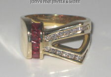 MAGNIFICENT ESTATE 14K YELLOW GOLD RED GARNET & DIAMOND RING Size 6 HEAVY