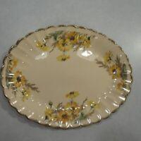 Vintage Sebring Golden Ware Yellow Daisy Oval Serving Platter 22k Gold Rim