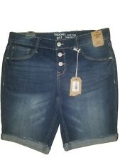 HIPPIE GIRL Womens 16  Jean Shorts Regular Rise Shortie Raw Hem  NWT