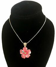 26mm Hawaiian Sterling Silver Textured Hibiscus Burst Flower CZ Slide Pendant #1