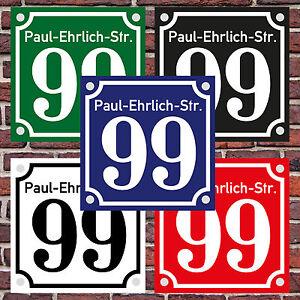 Hausnummernschild Hausnummer Straßenname Emaille Design Alt mit Abstandhalter