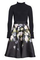 NEW Ted Baker Nerida Opal Printed Full Skirted Dress in Black - 5 US 12 #TED422