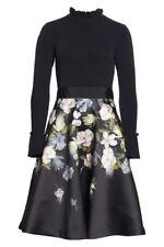 NEW Ted Baker Nerida Opal Printed Full Skirted Dress in Black -sz 3 US 8 #TED421