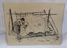 """Daphne Odjig 1967 Original Signed """"Scraping The Moose Hide"""""""