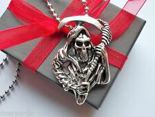 SONS OF ANARCHY SKELETON  DEATH REAPER NECKLACE GIFT BOXED STAINLESS STEEL CHAIN