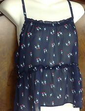 Hollister Size XS Sheer Crop Top Popsicle Print Strappy Blue (A9)