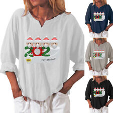 Christmas Womens Long Sleeve Tunic T Shirt Baggy Blouse Loose Xmas Casual Tops