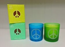 Set of 2 Soy Wax Kiss My Face Glass Jar PEACE CANDLES 42 hr. Burn Time Each