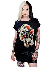 Too Fast Memento Mori Skull & Roses Black Lace Loose Fit Top T-shirt
