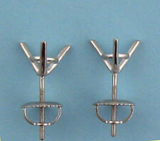 2CT TW Martini Style Stud Earrings Settings 1CT Each14K Solid White Gold