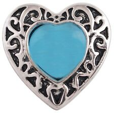 Silver Blue Cats Eye Scroll Heart 20mm Snap Charm Jewelry For Ginger Snaps