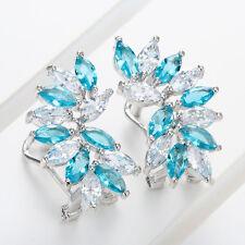 Women Fashion 925 Silver White Topaz & Aquamarine Earring Wedding  Jewelry New