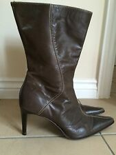 NEXT BROWN POINTED TOE MID CALF BOOTS MADE IN ITALY SZ 6.5