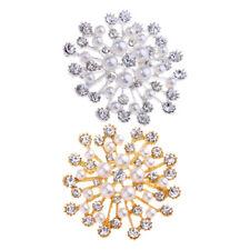 Pearl Flower Scarf Ring Diamante Rhinestone Brooch Pin Gift Sparkling Womens