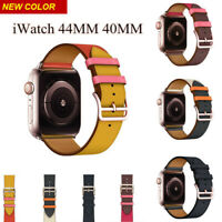Leather Single Tour Rose Gold Buckle Strap Bracelet for Apple Watch Series 4/3/2