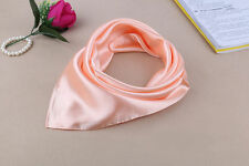 Women Fashion Soft Silk Square Scarf Small Plain Neckerchief Head Neck Headband