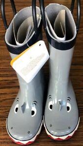 Gymboree Coastal Crew Gray Shark Rain Boots Boy Rubber Boot Shoes NWT Size 6