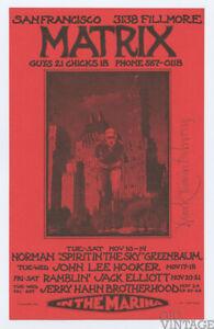 Norman Greenbaum John Lee Hooker 1979 Nov Matrix Handbill Mark Behrens signed