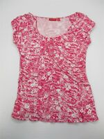 ELLE T7532 Women's Size S Pleated Scoop Neck Floral Print Pink/White Knit Top
