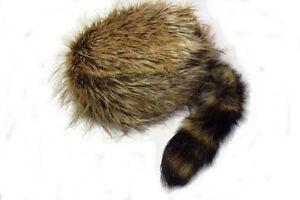 Plushy Davey Crockett Coonskin Cap Real Fur Tail Raccoon Coon Daniel Boone Hat