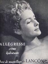 PUBLICITÉ 1954 LANCÔME ALLÉGRESSE CRÈME HYDRATANTE - ADVERTISING