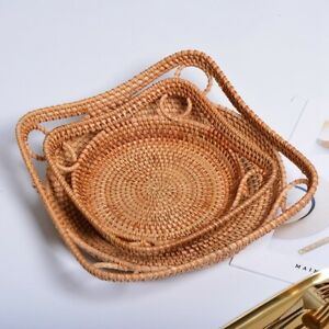 Round Rattan Tray with Handles Tea Bread Coffee Table Serving Basket,Woven H4A4