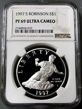 1997 S USA 90% SILVER ROBINSON COMMEMORATIVE DOLLAR NGC PROOF 69 ULTRA CAMEO