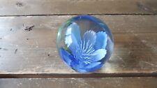 "Vintage Dynasty Gallery Paperweight Blue Flower Floral Design 3"""