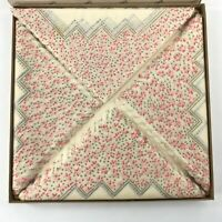 Paper Placemats Set of 24 Pink Floral Square Thin Delicate Original Box Vintage