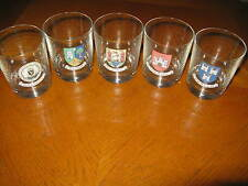 Vintage Set of 5 Reims France Rocks Glasses Ireland Cities Nice!