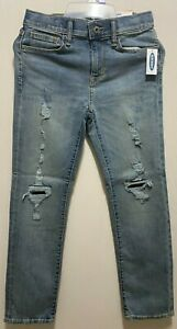 Old Navy Boys Karate Jeans Distressed Slim Fit Size 10 Adjustable Waist NEW NWT
