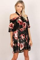 Velvet Black Floral Off Shoulder Ruffle Halter Romantic Goth 260 mv Dress S M L