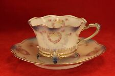 Set of 4 - RS Prussia Footed Tea Cup & Saucers - Wreath Design - Red Star