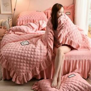 Lace Coral Fleece Warm Warm Flannel Quilt Cover Bed Sheet Pillowcase Four-piece