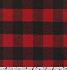 Mammoth Flannel Buffalo Plaid Check Red Black WovenCotton Flannel Fabric D282.04