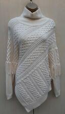 S 10/12/14 Karen Millen Ecru Wool Fringed Turtleneck Knit Poncho Jumper Sweater