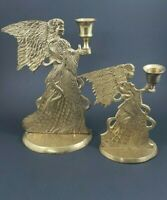 """Lot of 2 Brass Angel Candle Holders Sticks 7"""" & 9 1/2"""" Vintage Christmas Pair"""