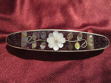 Hair Barrette - Floral design w/ Mother of Pearl Inlays - Variation of Purple