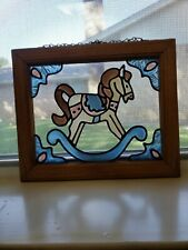 Rocking Horse Hand Painted Stained Art Glass Window Suncatcher wood frame