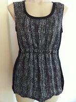 Ladies Black & White JACQUI E Sleeveless Top Size 12