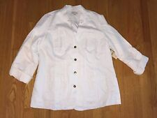 NWT Coldwater Creek White Linen Cargo Jacket Coat Size 16 NEW