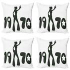 Ambesonne Black and White Cushion Cover Set of 4 for Couch and Bed in 4 Sizes