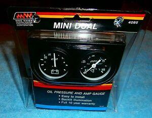 Make Waves Super Pro  Mini Dual Oil Pressure Amp Gauge Set 1 &1/ 2 inch #4095
