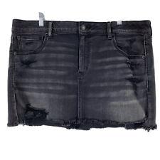 American Eagle Mini Skirt 18 Short Black Grey Distressed Frayed Super Stretch