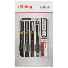 ROTRING RAPIDOGRAPH COLLEGE 3 PENS .20 .30 .50, PENCIL, 3 CARTRIDGES S0699510
