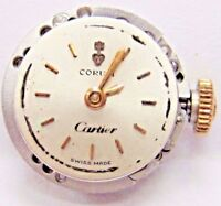 Antique Corum Watch Movement 17 jewels.13.5 mm/ 3- Adjs,3 Pos Cartier Dial