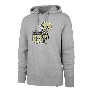 New Orleans Saints Men's Throwback Legacy Logo Pullover Hoody Sweatshirt - Gray