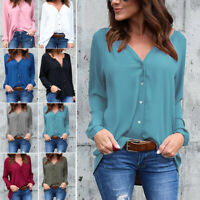 Women's Casual V Neck Long Sleeve Blouse Loose Tops Office Ladies Work Shirts US