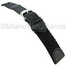 19mm Hadley Roma Swiss Army Style Black Mens Watch Band Long 866